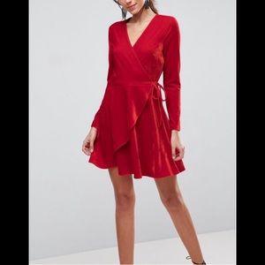 Luxurious Red Velvet Wrap Mini Dress NWT